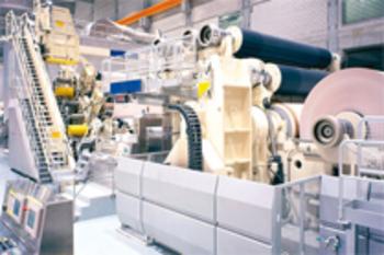Zu sehen ist ein Bild einer Papierfabrik