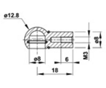 Zu sehen ist eine Abbildung mit einer CAD-Zeichnung von einer Kugelpfanne-KPQ6