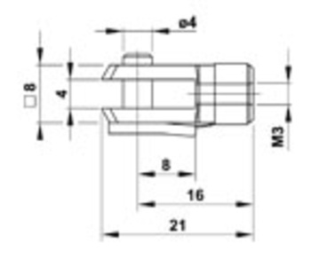 Zu sehen ist eine Abbildung mit einer CAD-Zeichnung von einem  Zu sehen ist eine Abbildung mit einer CAD-Zeichnung von einem Gabelkopf-GKQ4