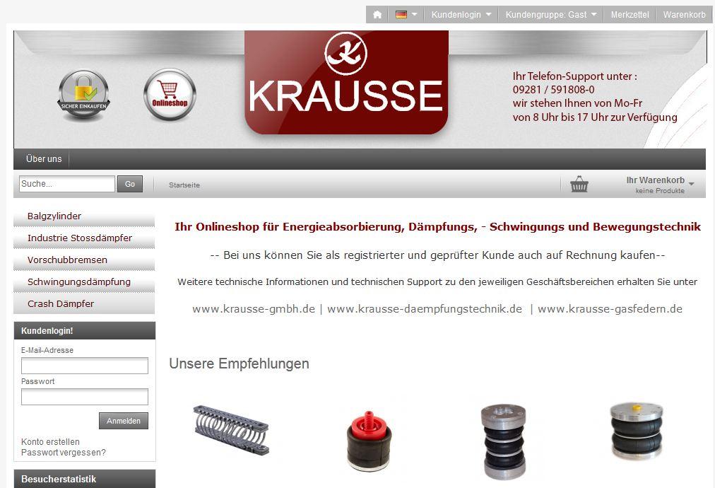 Zu sehen ist ein Bild des Krausse Online Shops