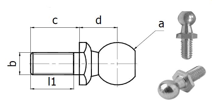 Abbildung Kugelbolzen mit technischer Zeichnung