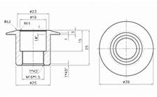 Technische Zeichnung von einer Alu-Buchse für SET02 und SET03