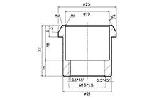 Technische Zeichnung Kunstsoff-Buchse