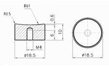 Technische Zeichnung von einem Kunststoff schwarz SET02 / aus Alu SET03aus Kunststoff schwarz SET02 / aus Alu SET03
