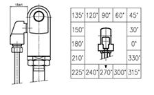 Technische Zeichnung von einem Winkelanschluss Auslösekopf